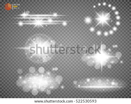 Silver glitter bokeh lights and tinsel. Bright star, solar particles and sparks with glare effect on a transparent background