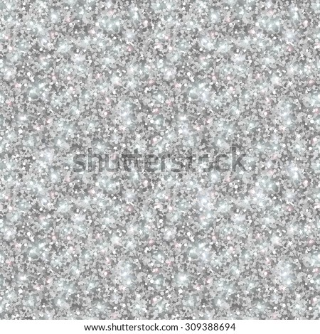 Silver Glitter Texture, Seamless Sequins Pattern. Vector Illustration. Lights and Sparkles. Glowing New Year or Christmas Backdrop. Silver Dust. - stock vector