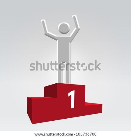 Silver glossy abstract man on sport winner pedestal - stock vector