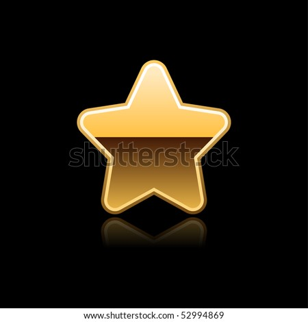 Silver gold symbol web button with reflection on black - stock vector