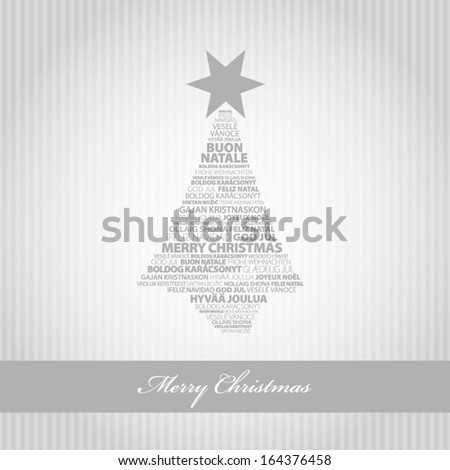 Silver greeting card with Christmas tree - stock vector