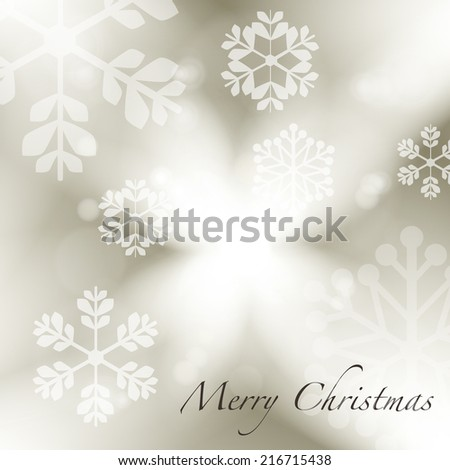 Silver Grey Christmas Background with Snowflakes   - stock vector