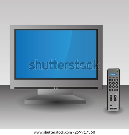 Silver Grey TV screen remote control technology isolated - stock vector