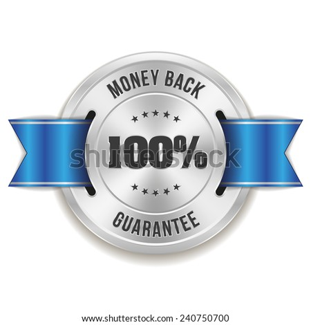 Silver hundred percent money back badge with blue ribbon on white background - stock vector