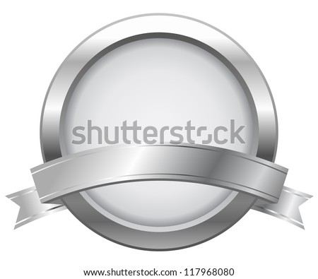 Silver label with ribbon - stock vector