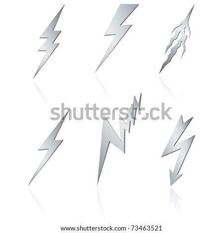 Silver lightning set on white. Vector - stock vector