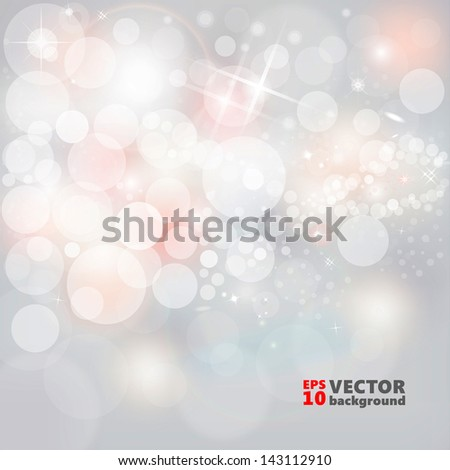 Silver Lights And Stars On Grey Background Abstract Christmas Background With Glowing White And Pink Snow EPS 10 - stock vector