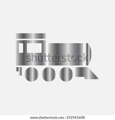 Silver Locomotive icon . Vector illustration - stock vector