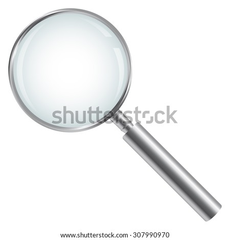 silver magnifying glass isolated - stock vector