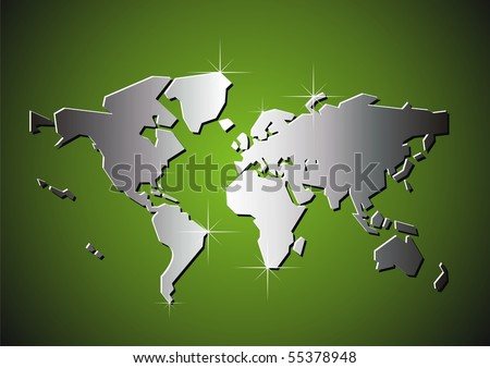 Silver map of the world. Vector illustration. - stock vector