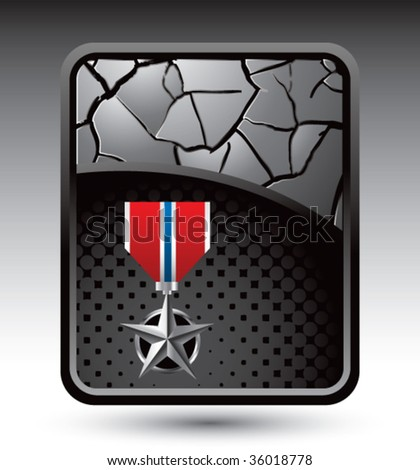 silver medal on cracked silver backdrop - stock vector