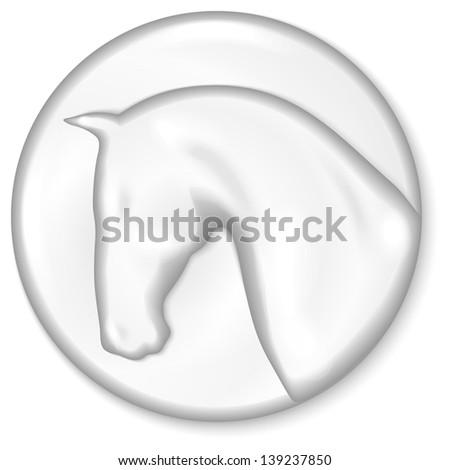 Silver medal with horse head silhouette on it - stock vector