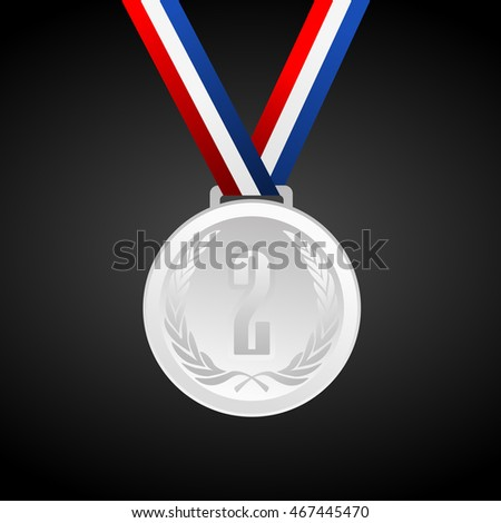 Silver medal with ribbon - vector graphic