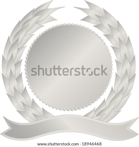 Silver medallion with wreath and banner - stock vector