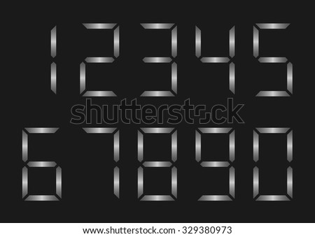 Silver metal electronic numbers for clock display. Vector illustration