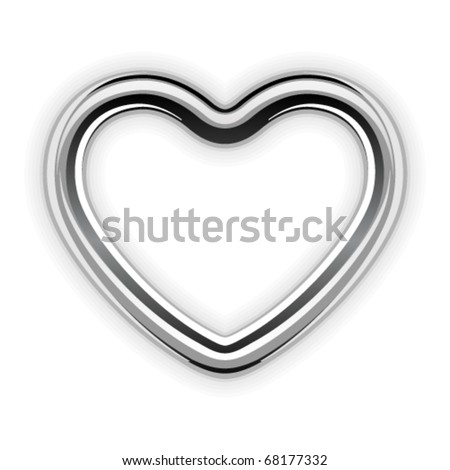 Silver metal heart shape vector illustration - stock vector