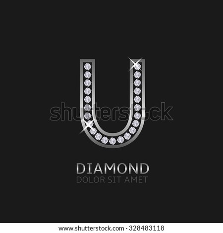 Silver metal letter U logo with diamonds. Luxury, royal, wealth, glamour symbol. Vector illustration - stock vector