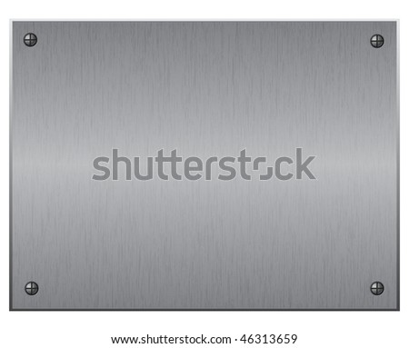 Silver metal plate with screws, vector illustration