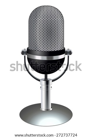 Silver metal retro radio microphone standing for talking. Vintage retro chrome mic. Technology object, sound recording equipment concept. vector art image illustration, isolated on white background - stock vector