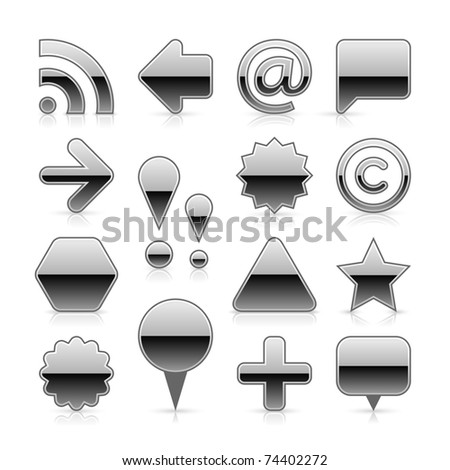 Silver metal web button set with gray shadow and grey reflection on white background - stock vector