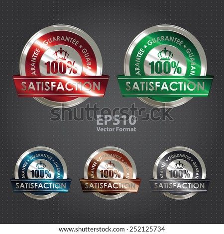 silver metallic 100% satisfaction guarantee medal, sticker, sign, badge, icon, label, vector format - stock vector