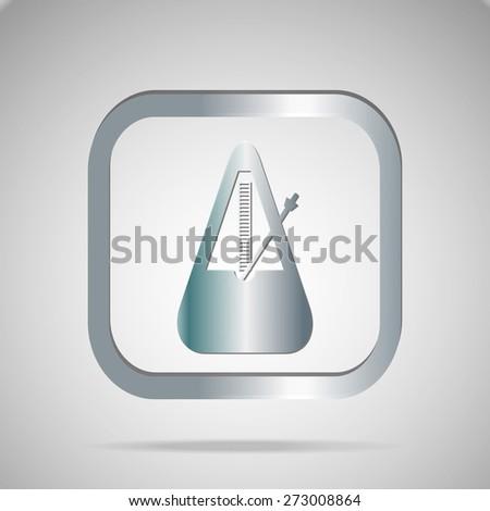 Silver musical metronome icon element design.Vector EPS 10 - stock vector