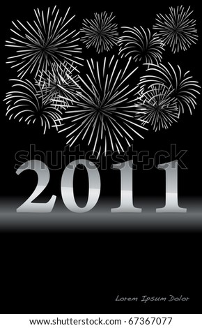 Silver New Year design with fireworks VECTOR