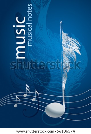 Silver note in the form of the bird's feather on the blue background. - stock vector
