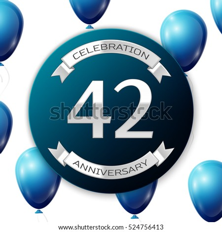 Silver number forty two years anniversary celebration on blue circle paper banner with silver ribbon. Realistic blue balloons with ribbon on white background. Vector illustration.