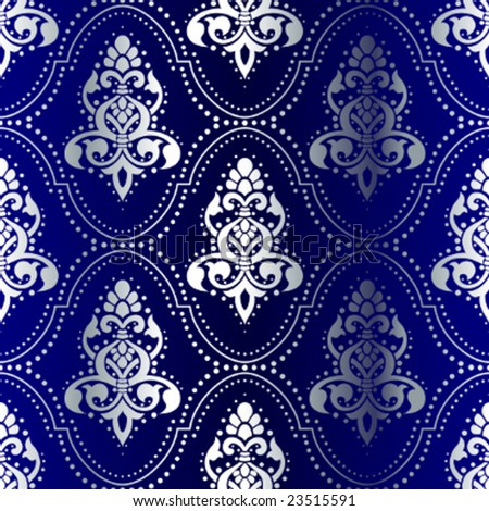 Silver-on-Blue seamless Indian pattern with dots (vector); a JPG version is also available - stock vector