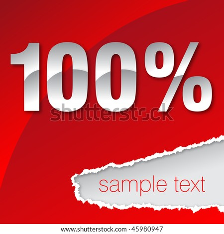 silver one hundred percent on red background - stock vector