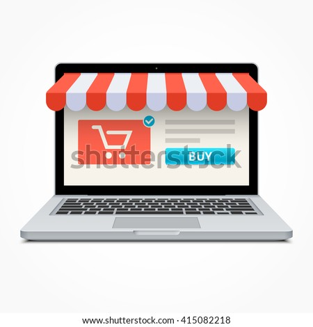 Silver open laptop with and screen buy. Concept online shopping - stock vector