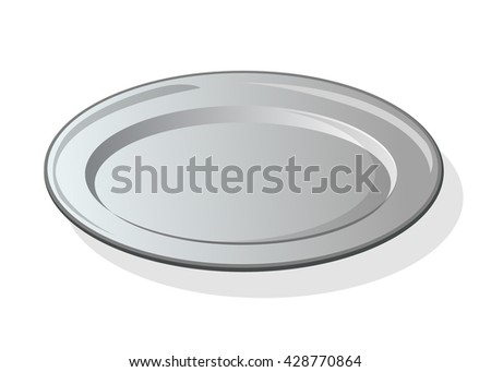 Silver or metal empty plate isolated on white background. Vector illustration. - stock vector