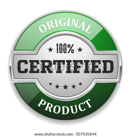Silver original product badge with green border on white background