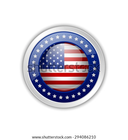 Silver original product from U.S.A. symbol on white background - stock vector