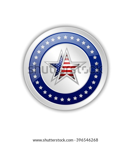 Silver original product from U.S.A. symbol or badge on white background - stock vector