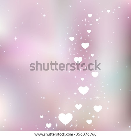 Silver pink background with shiny hearts, card with hearts to Valentine's Day - stock vector