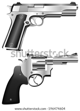 Silver pistol and revolver. - stock vector