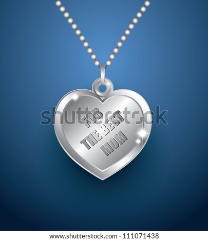 Silver/platinum necklace with heart shaped pendant - vector illustration - stock vector