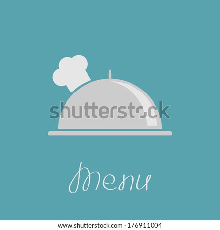 Silver platter cloche and chefs hat. Vector illustration. - stock vector