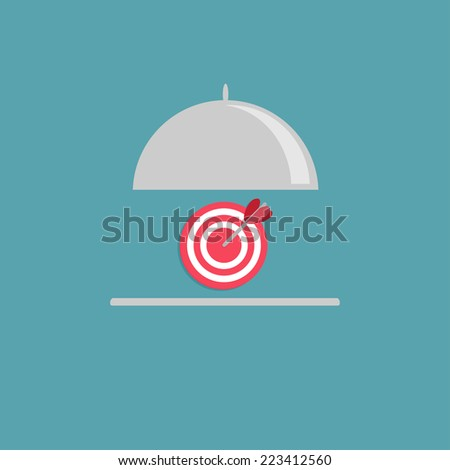 Silver platter cloche and target. Flat design style. Vector illustration - stock vector