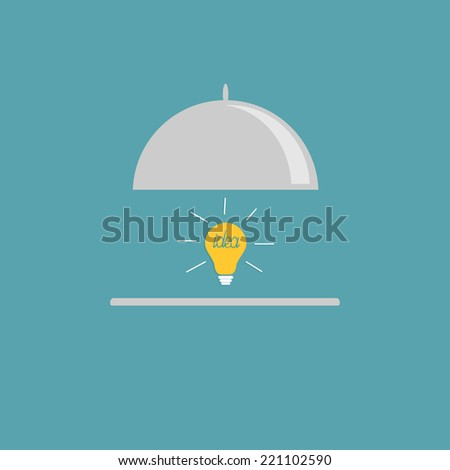 Silver platter cloche and yellow idea light bulb. Flat design style. Vector illustration - stock vector