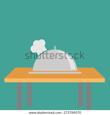 Silver platter cloche Chef hat on the table. Flat design Vector illustration - stock vector
