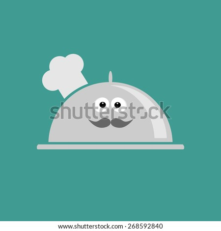 Silver platter cloche Chef hat with eyes and moustache. Flat design Vector illustration - stock vector