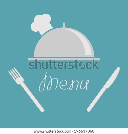 Silver platter cloche fork and knife. Menu cover flat design style. Vector illustration - stock vector