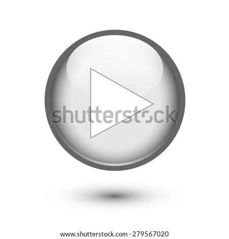 Silver play button on white - stock vector