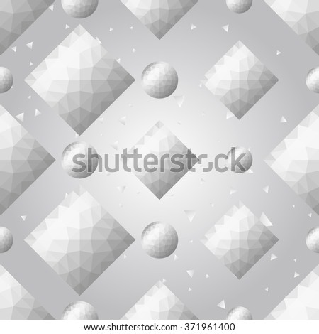 Silver polygonal shape: rhombus, circle on white silver sparkle background. Metal polygonal seamless pattern in hipster triangle low poly style. Silver background for vip, gift, website techno design