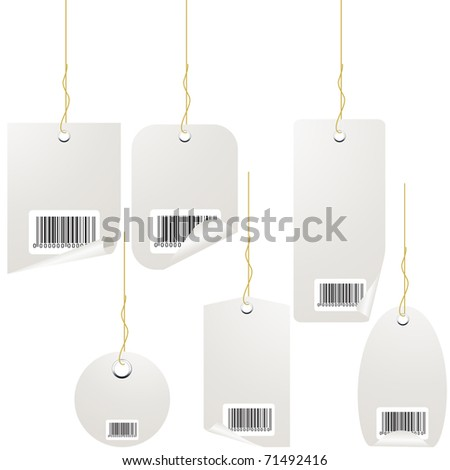 Silver price tag set isolated on white. Vector - stock vector
