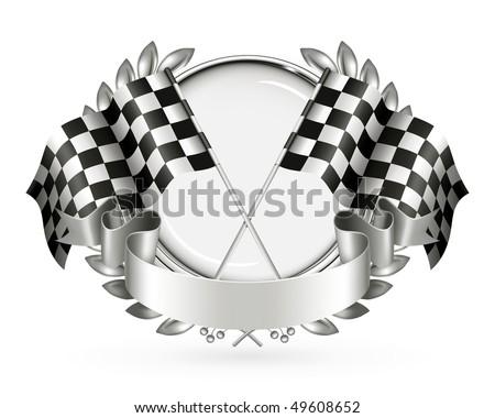 Silver Racing Emblem, vector - stock vector