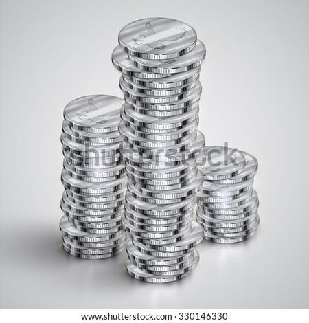 Silver realistic coins, vector - stock vector